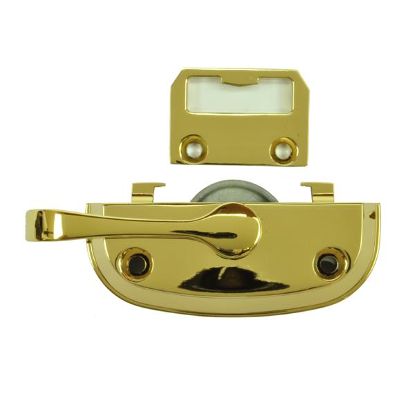 Tilt Window Locks : Bright brass sash lock and keeper  andersen