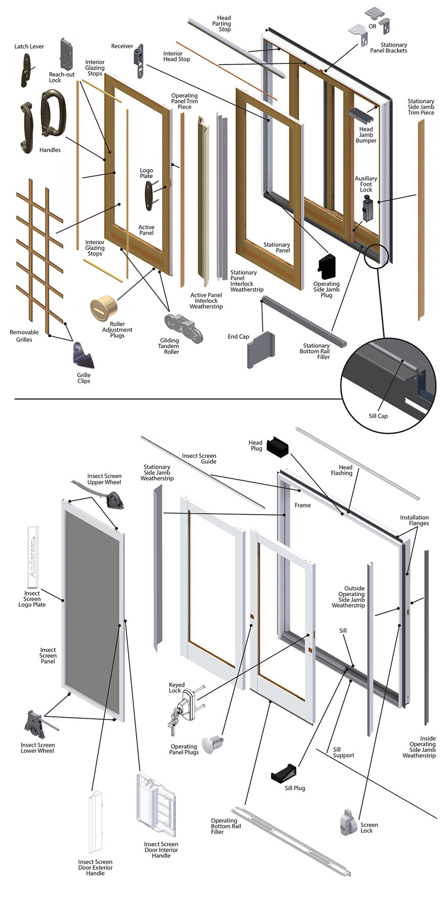 Frenchwood Gliding Patio Door Parts Diagram