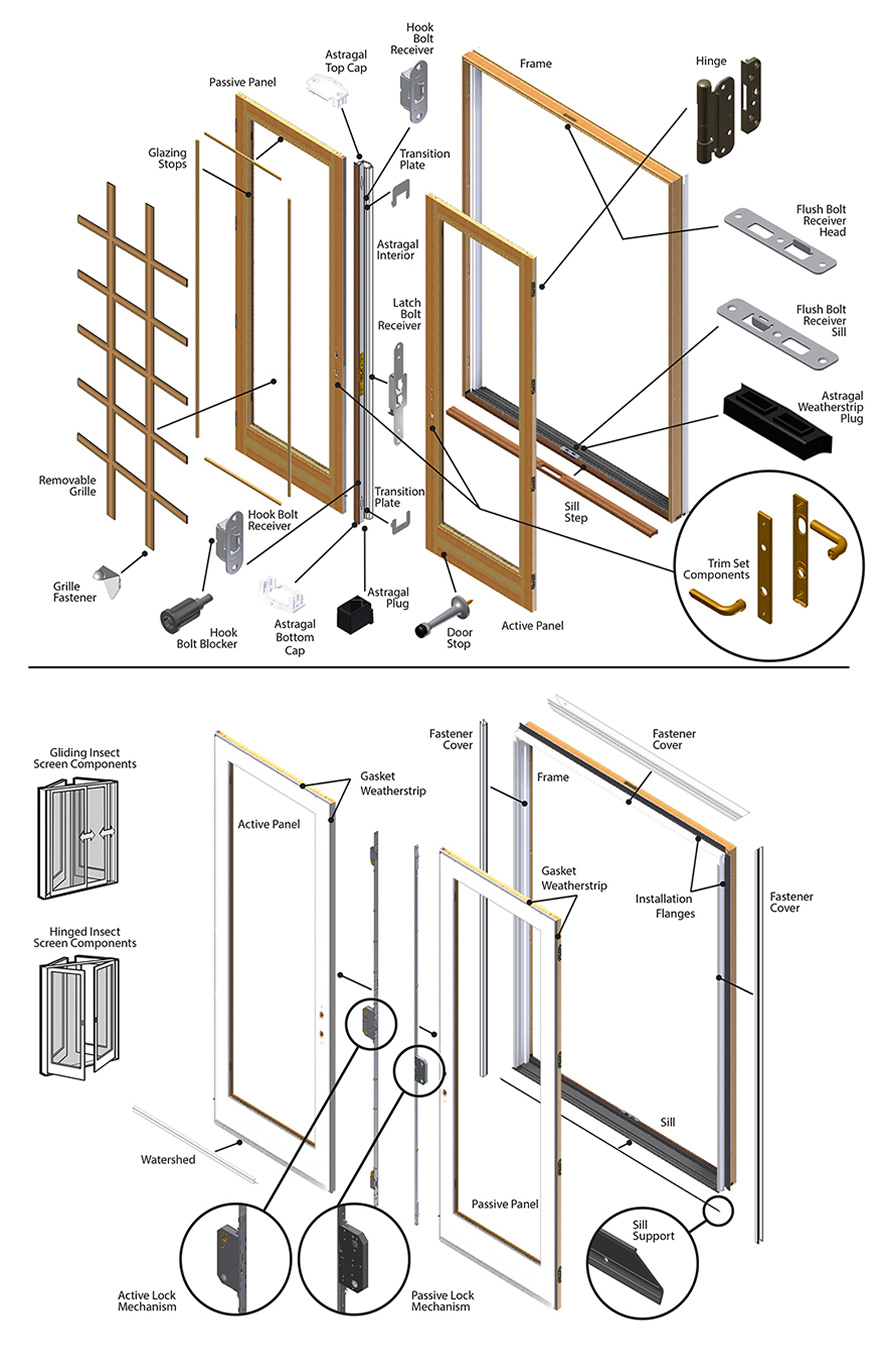 400 Series Frenchwood Patio Door Parts  sc 1 st  Andersen Windows Parts Store & 400 Series Frenchwood Patio Door Parts Diagram