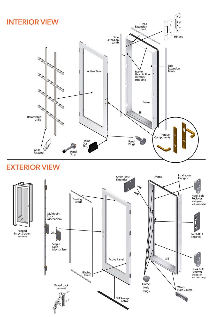 200 Series Hinged Patio Door Single Panel